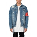 Mens Vintage Destroyed Ripped Code Print Long Sleeve Casual Short Blue Denim Jacket