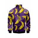 New Stylish 3D Banana Pattern Stand Collar Long Sleeve Zip Up Purple Baseball Jacket