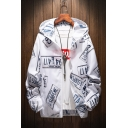 Stylish Letter Printed Long Sleeve Hooded Zip Placket Sun Protection Sports Coat