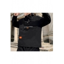 Guys Fashionable Letter THE WORLD TO COMEING Print Long Sleeve Stand-Collar Pullover Jacket