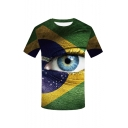 Men's New Stylish 3D Eye Pattern Round Neck Short Sleeve Green T-Shirt
