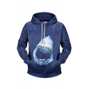 New Stylish Wave Shark 3D Printed Navy Long Sleeve Pullover Drawstring Hoodie