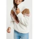 Womens Winter Hot Fashion Chevron Colorblock Stand Collar Long Sleeve Half-Zip Fluffy Fleece Sweatshirt
