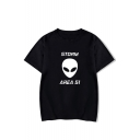 Funny Alien Storm Area Printed Round Neck Short Sleeve Casual Graphic Tee