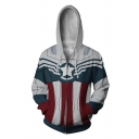 Hot Popular Color Block Comic Captain Cosplay Costume Long Sleeve White Zip Up Hoodie