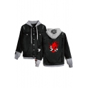 Mens Hot Sale Monster Print Ripped Buttons Down Long Sleeve Hooded Denim Jacket Coat