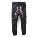 Hot Cartoon Shark Camouflage Letter Printed Drawstring Waist Casual Joggers Sweatpants