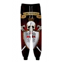 Hot Fashion Knights Templar Skull 3D Printed Drawstring Waist Casual Loose Red Sweatpants