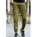 Mens Simple Letter Fashion Embroidered Outdoor Straight Slim Casual Cargo Pants with Side Pocket