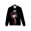 Cool Blood Figure 3D Printed Long Sleeve Black Drawstring Hoodie