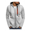 Men's New Fashion Contrast Zip Embellished Stripe Pattern Drawstring Hooded Long Sleeve Casual Sports Zip Up Hoodie