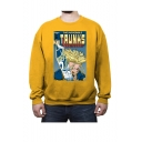 Popular Comic Figure Printed Letter TRUNKS Printed Long Sleeve Round Neck Pullover Sweatshirts