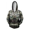 Popular Game War Machine 5 3D Printed Long Sleeve Drawstring Hooded Zip Up Cosplay Hoodie