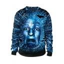 Hot Trendy Halloween Horrible Head 3D Print Round Neck Long Sleeve Blue Sweatshirt