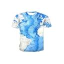 New Stylish 3D Map Print Round Neck Short Sleeve Basic Blue T-Shirt For Men