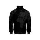 New Stylish 3D World Map Printed Stand-Collar Long Sleeve Zip Up Black Baseball Jacket