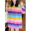 Stylish High Low Hem Rainbow Striped Round Neck Long Sleeve Loose Oversized Longline Sweatshirt