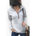 New Stylish Gray Half-Zip Stand Collar Long Sleeve Plain Sweatshirt
