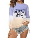 HIPPIE SOUL Letter Print Round Neck Color Block Long Sleeve Sweatshirt