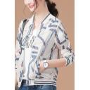 Womens Fashionable Geometric Print Standing Collar Casual Baseball Jacket