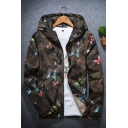 Camo Butterfly Print Long Sleeve Windproof Hooded Zipper Jacket