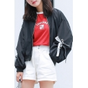 Packable Bow Panel Lantern Sleeve Black Oversized Fit Baseball Jacket