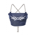 Women's Fashion Versatile Print Chain Sleeveless Sexy Denim Blue Cropped Tee