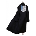 Cool Logo Printed Raglan Sleeves Longline Black Cloak Cosplay Costume Coat