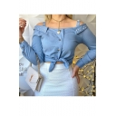 Summer Fashion Simple Plain Button Front Long Sleeve Beaded Detail Blue Cropped Shirt for Women