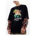 Hot Trendy Cactus Mountain Letter Printed Plaid Sleeve Patched Fake Two Piece Round Neck Casual Sweatshirts