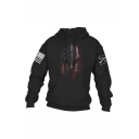 Mens New Fashion Cool American Flag Skull Printed Long Sleeve Casual Sports Hoodie