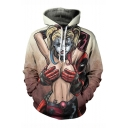 Hot Popular Comic Figure 3D Printed Long Sleeve Relaxed Fit Khaki Drawstring Pullover Hoodie
