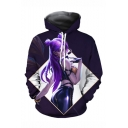 Popular Game Character 3D Printed Dark Purple Long Sleeve Relaxed Fit Unisex Pullover Hoodie