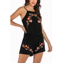 Womens Trendy Black Floral Printed Embroid Camisole and Loose Shorts Two-Piece Set