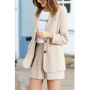 Ladies Business Style Plain Lapel Long Sleeve Tops with Tailored Shorts Two Piece Set