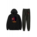 Hot Trendy IT Clown Printed Sport Loose Hoodie with Sweatpants Two-Piece Set