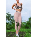Stylish Camouflage Patchwork Print Scoop Neck Sleeveless Camisole High Waist Workout Pants Co-ords