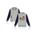 Popular Letter SPEAK YOURSELF Floral Print Rib Collar Color Button Down Fitted Baseball Jacket