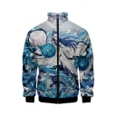 New Stylish Hot Popular Comic Figure Printed Rib Collar Single Breasted Blue Baseball Jacket