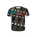 Unique Creative Cool 3D Clavier Printed Round Neck Short Sleeve Grey Tee