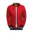 Men's Trendy Simple Plain Zip Closure Long Sleeve Stand Collared Fitted Padded Coat