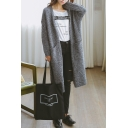 Ladies Casual Grey Plain Open Front Bat Long Sleeve Longline Cardigan with Pockets