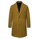 Men's New Fashion Plain Notched Lapel Collar Long Sleeve Single Breasted Camel Peacoat