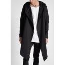 Men's New Stylish Street Style Long Sleeve Simple Plain Open Front Longline Black Trench Coat