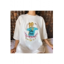 Hot Fashion WHO RUN THE WORLD Letter Sailor Moon Printed Comic Round Neck Short Sleeve White Tee