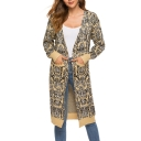 Womens Fashion Snake Print Open Front Long Sleeve Longline Cardigan with Pockets