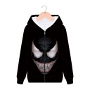 Cool Fashion 3D Printed Long Sleeve Black Zip Up Hoodie