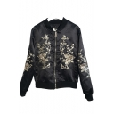 Fashion Ladies Embroidery Floral Printed Stand Up Collar Zipper Plain Jacket Coat