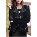 Female Elegant Black Lapel Collar Long Sleeve Zipper Leather Jacket with Zipper Trim