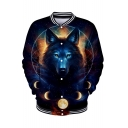 3D Wolf Starry Sky Galaxy Pattern Printed Single Breasted Long Sleeve Baseball Jacket